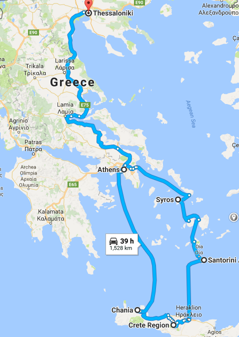 Greece Itinerary Map