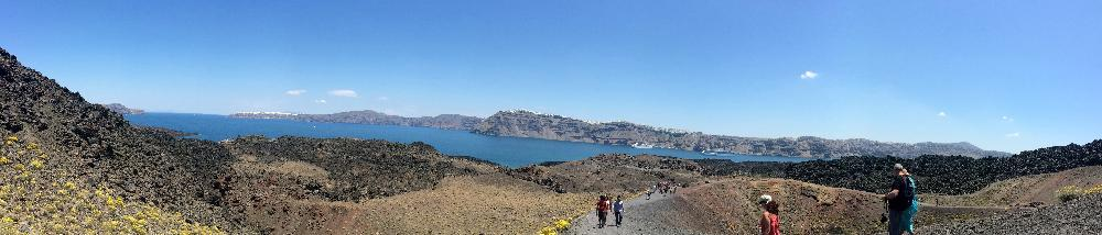 Volcano boat tour panoramic
